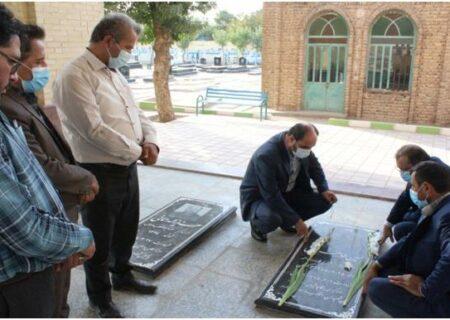 غبار روبی مزار شهدای مبارزه با مواد مخدر شهرستان تاکستان